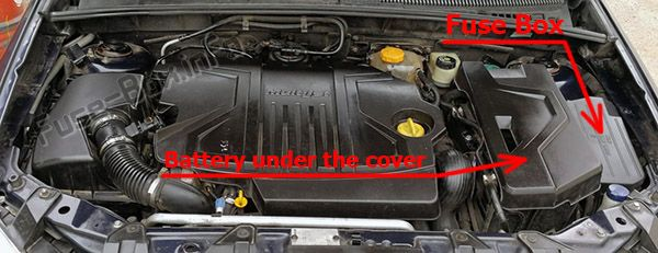 The location of the fuses in the engine compartment: Fiat Croma (2005, 2006, 2007, 2008, 2009, 2010, 2011)