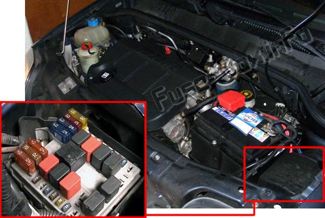 The location of the fuses in the engine compartment: Fiat Doblo (2005, 2006, 2007, 2008, 2009)
