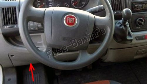 the location of the fuses in the instrumrnt panel: fiat ducato (2007, 2008