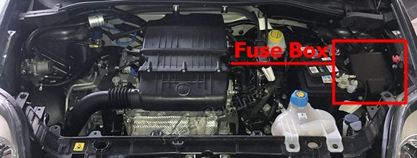 the location of the fuses in the engine compartment: fiat punto (2014, 2015