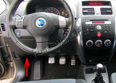 The location of the fuses in the passenger compartment: Fiat Sedici (2006-2014)