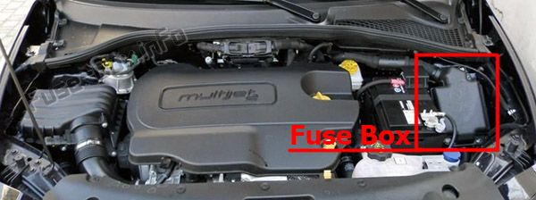 The location of the fuses in the engine compartment: Fiat Tipo (2016, 2017, 2018, 2019-..)