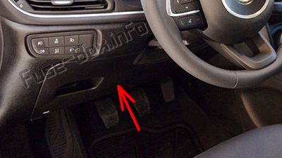 The location of the fuses in the passenger compartment (LHD): Fiat Tipo (2016, 2017, 2018, 2019-..)