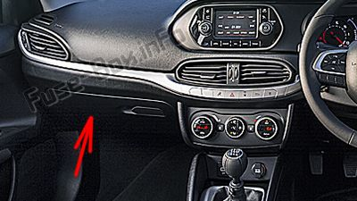 The location of the fuses in the passenger compartment (RHD): Fiat Tipo (2016, 2017, 2018, 2019-..)