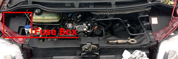 The location of the fuses in the engine compartment: Fiat Ulysse II (2003-2010)