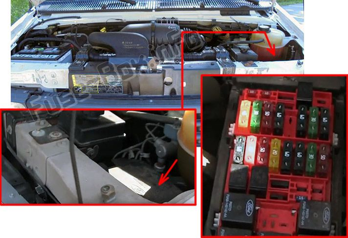 The location of the fuses in the engine compartment: Ford E-150, E-250, E-350, E-450 (2002-2008)