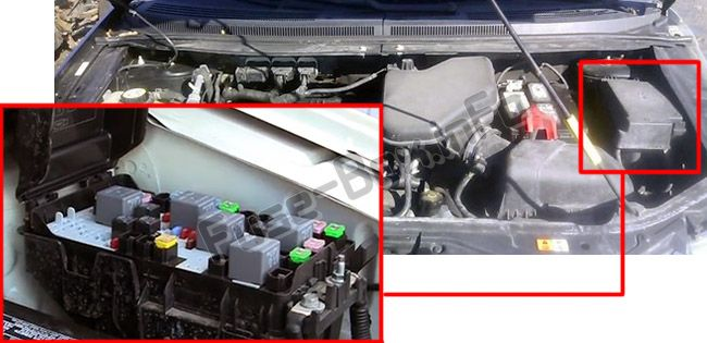 The location of the fuses in the engine compartment: Ford Edge (2007, 2008, 2009, 2010)