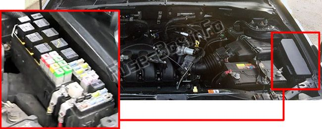 The location of the fuses in the engine compartment: Ford Escape (2001, 2002, 2003, 2004)
