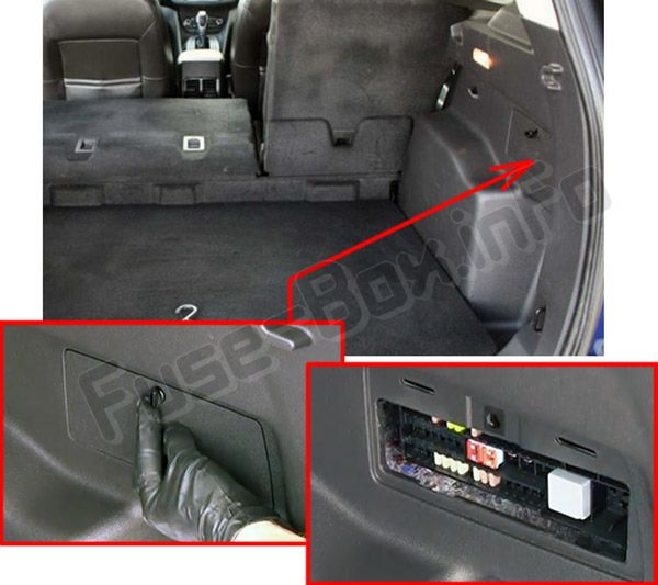 The location of the fuses in the trunk: Ford Escape (2013, 2014, 2015, 2016, 2017, 2018)