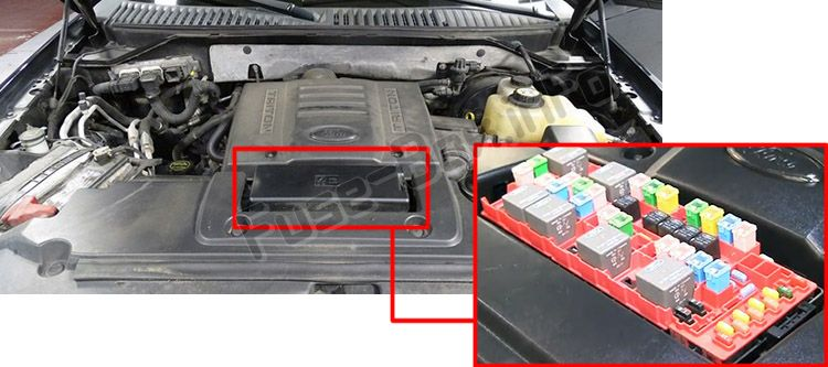 The location of the fuses in the engine compartment: Ford Expedition (2007-2014)