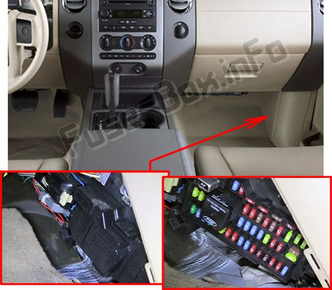 The location of the fuses in the passenger compartment: Ford Expedition (2007-2014)