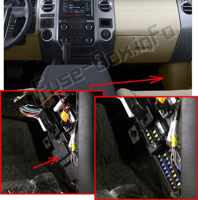 The location of the fuses in the passenger compartment: Ford Expedition (2015, 2016, 2017)