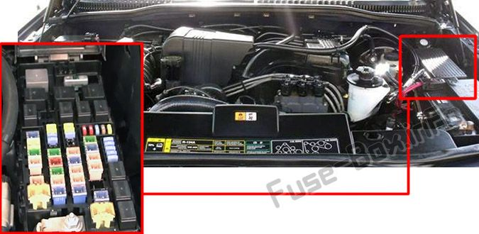The location of the fuses in the engine compartment: Ford Explorer (2002, 2003, 2004, 2005)