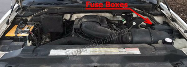 The location of the fuses in the engine compartment: Ford F-150 (1997, 1998)