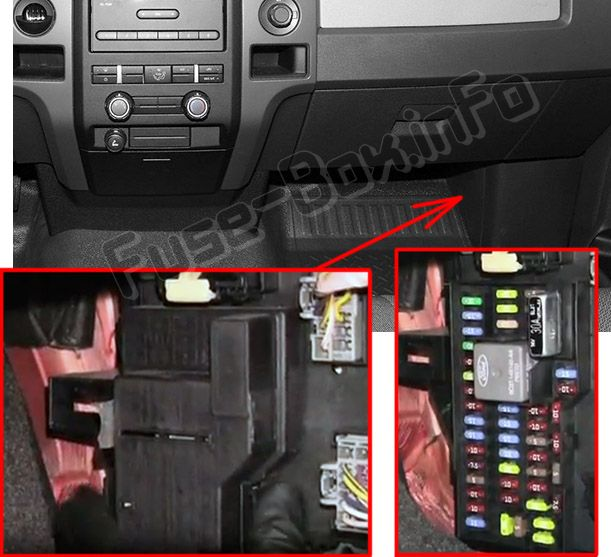 The location of the fuses in the passenger compartment: Ford F-150 (2009, 2010, 2011, 2012, 2013, 2014)