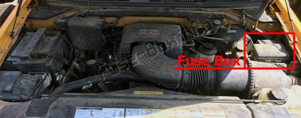 The location of the fuses in the engine compartment: Ford F-250 / F-350 / F-450 / F-550 (1997, 1998, 1999, 2000, 2001)