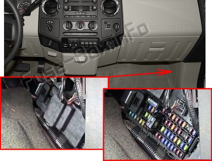 The location of the fuses in the passenger compartment: Ford F-250, F-350, F-450, F-550 (2008, 2009, 2010, 2011, 2012)
