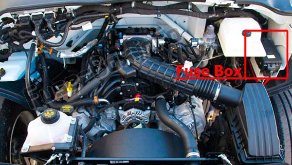 The location of the fuses in the engine compartment: Ford F-650, F-750 (2017, 2018, 2019-...)