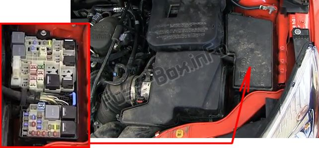 The location of the fuses in the engine compartment: Ford Focus (2012, 2013, 2014)