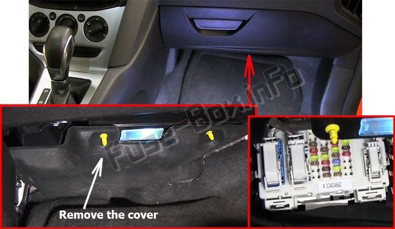The location of the fuses in the passenger compartment: Ford Focus (2012, 2013, 2014)