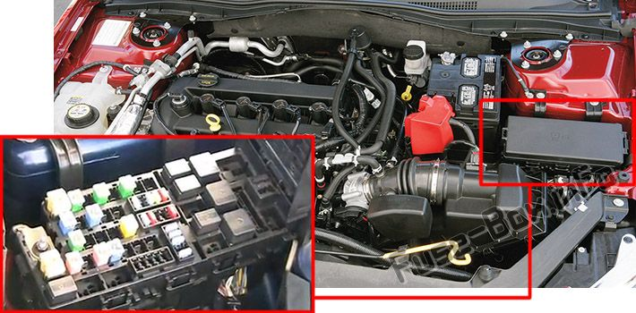 The location of the fuses in the engine compartment: Ford Fusion (2006, 2007, 2008, 2009)
