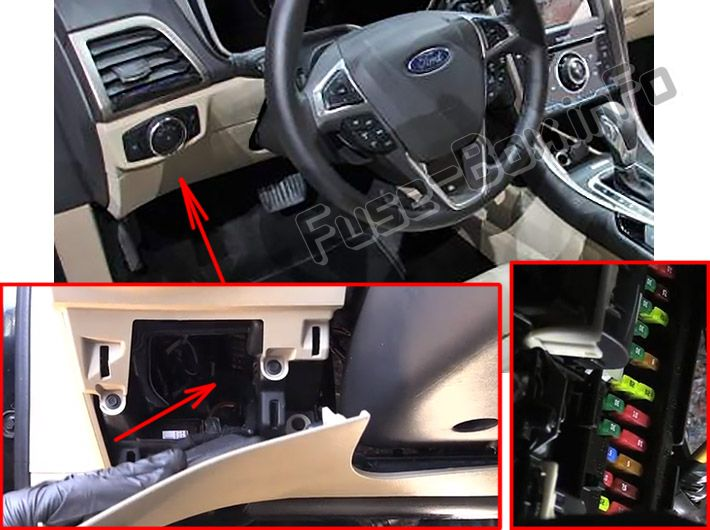 ford fusion hybrid energi (2016 2018 ) \u003c fuse box diagram 2010 f150 fuse box diagram the fuse panel is located under the instrument panel to the left of the steering column