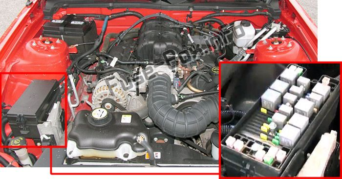 The location of the fuses in the engine compartment: Ford Mustang (2005, 2006, 2007, 2008, 2009)