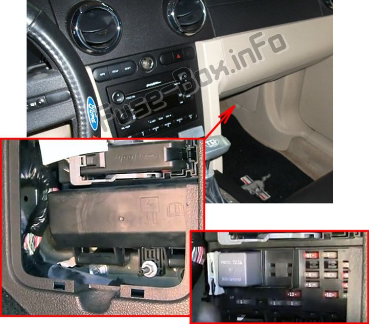 The location of the fuses in the passenger compartment: Ford Mustang (2005, 2006, 2007, 2008, 2009)