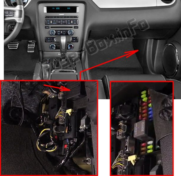 The location of the fuses in the passenger compartment: Ford Mustang (2010, 2011, 2012, 2013, 2014)