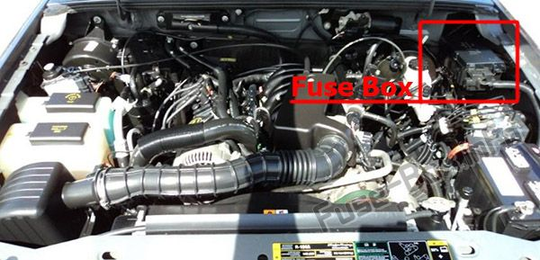 The location of the fuses in the engine compartment: Ford Ranger (2006-2011)