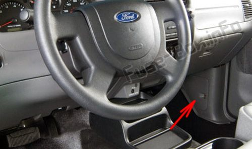 The location of the fuses in the passenger compartment: Ford Ranger (2006-2011)