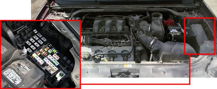 The location of the fuses in the engine compartment: Ford Taurus (2008, 2009)