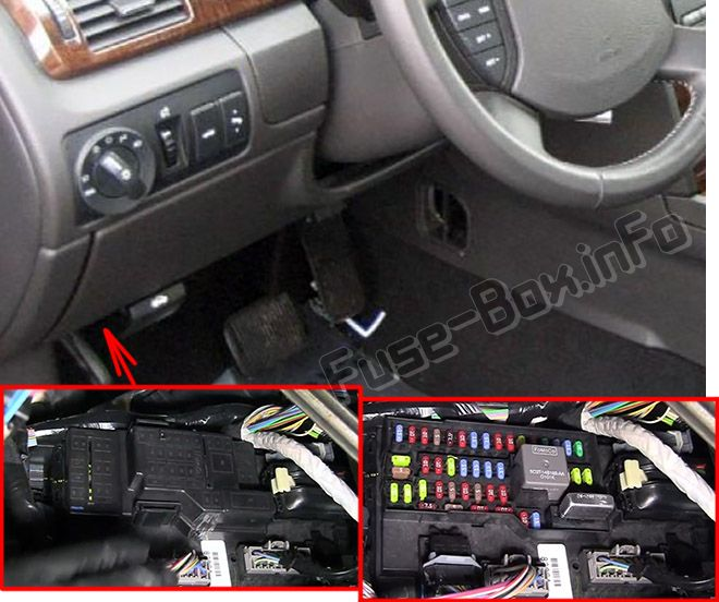 The location of the fuses in the passenger compartment: Ford Taurus (2008, 2009)