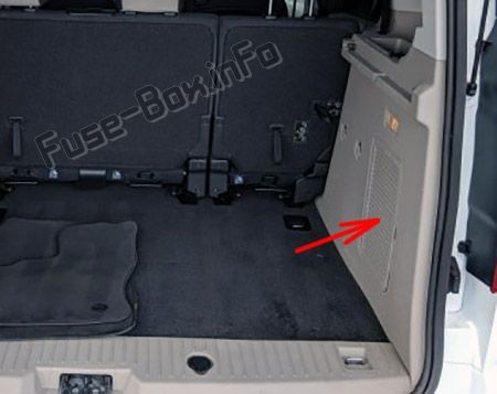 The location of the fuses in the trunk: Ford Transit Connect (2014, 2015, 2016, 2017, 2018)