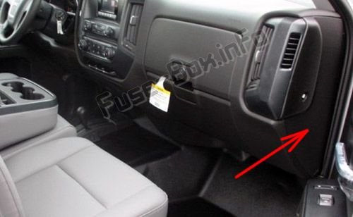 The location of the fuses in the passenger compartment: GMC Sierra (2014, 2015, 2016, 2017, 2018, 2019)