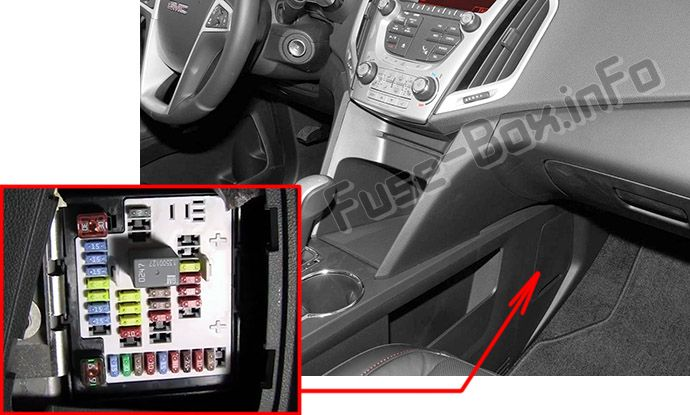 The location of the fuses in the passenger compartment: GMC Terrain (2010, 2011, 2012, 2013, 2014, 2015, 2016, 2017)