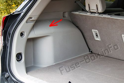 The location of the fuses in the trunk: GMC Terrain (2018, 2019-...)