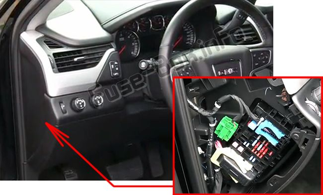 The location of the fuses in the passenger compartment: GMC Yukon / XL (2015, 2016, 2017, 2018, 2019)