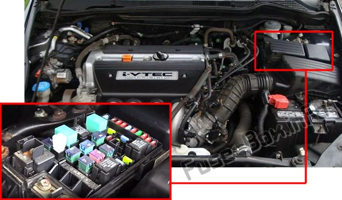 The location of the fuses in the engine compartment: Honda Accord (2003, 2004, 2005, 2006, 2007)