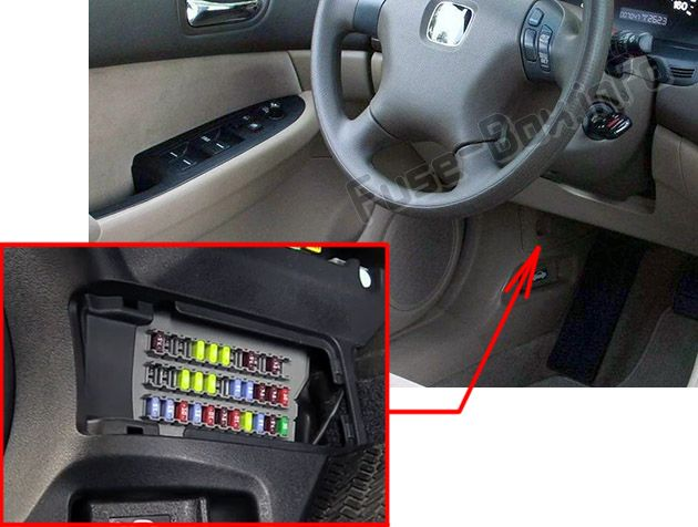 The location of the fuses in the passenger compartment: Honda Accord (2003, 2004, 2005, 2006, 2007)