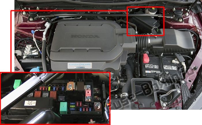 The location of the fuses in the engine compartment: Honda Accord (2013, 2014, 2015, 2016, 2017)