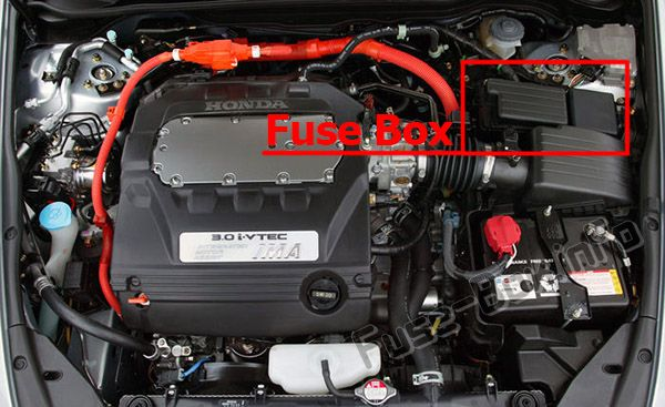 The location of the fuses in the engine compartment: Honda Accord Hybrid (2005, 2006)