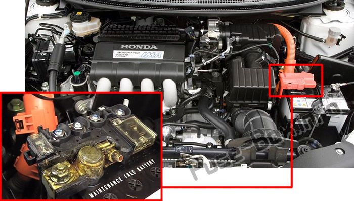 The location of the fuses in the engine compartment: Honda CR-Z (2011, 2012, 2013, 2014, 2015, 2016)