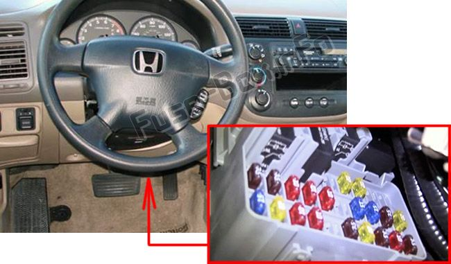 The location of the fuses in the passenger compartment: Honda Civic Hybrid (2003, 2004, 2005)