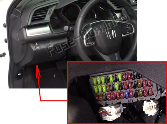 The location of the fuses in the passenger compartment: Honda Civic (2016, 2017, 2018, 2019-..)