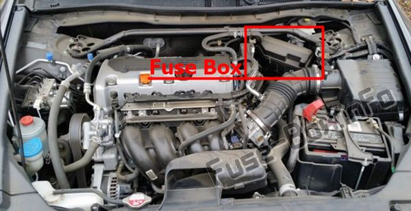 The location of the fuses in the engine compartment: Honda Crosstour (2012, 2013, 2014, 2015)