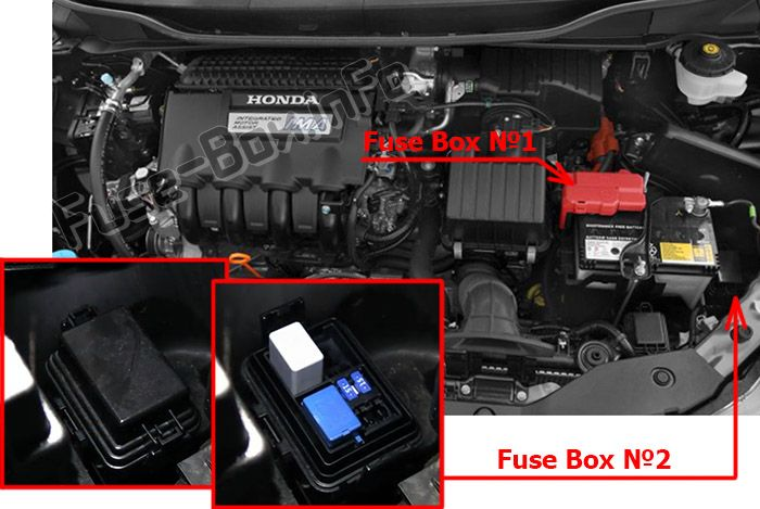 The location of the fuses in the engine compartment: Honda Insight (2010, 2011, 2012, 2013, 2014)