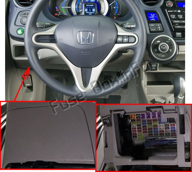 The location of the fuses in the passenger compartment: Honda Insight (2010, 2011, 2012, 2013, 2014)