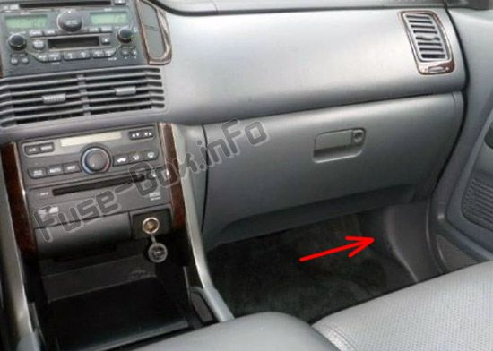 The location of the fuses in the passenger compartment: Honda Pilot (2003-2008)