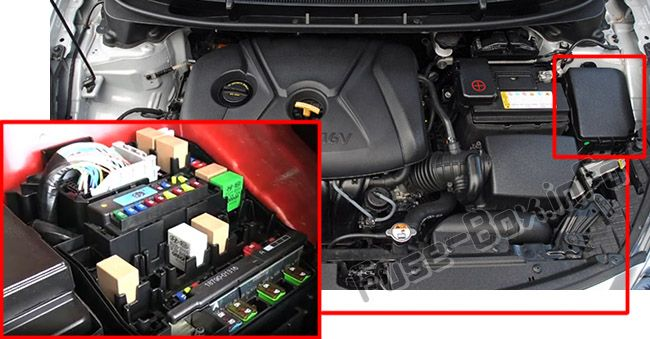 The location of the fuses in the engine compartment: Hyundai Elantra GT (2012-2017)